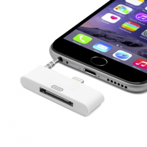 Adaptador Kablex Conector Apple Lightning / Dock 30 PIN Audio White
