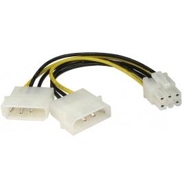Adaptador Kablex Fuente de Alimentacion 2X Molex 4P Macho / Molex PCIE 6P Hembra