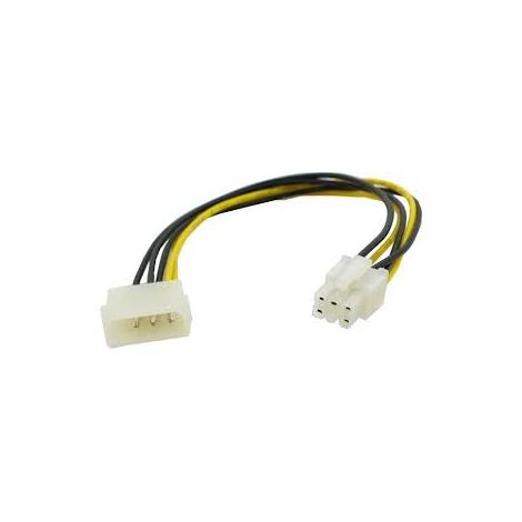 Adaptador Kablex Fuente de Alimentacion Molex 4P Macho / Molex PCIE 6P Hembra