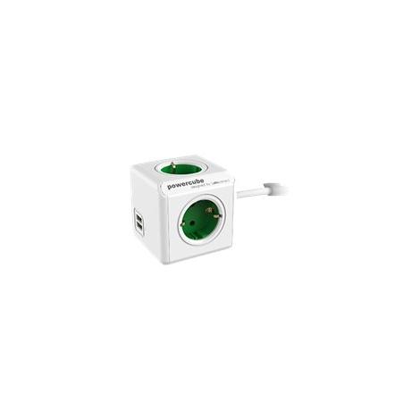 Regleta Powercube Extended USB 4 Tomas White/Green 1.5M