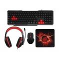 Teclado + Mouse + Auricular + Alfombrilla Mars Gaming Macp1 Black/Red