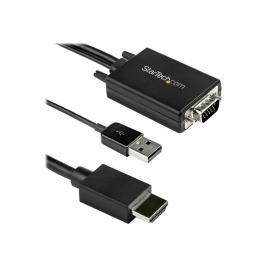 Cable Startech VGA Macho + Audio USB / HDMI Macho 2M Black