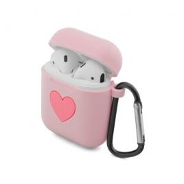 Funda Unotec Silicona Heart Pink para Estuche Airpods