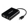 Puerto Replicador Toshiba Portatil USB-C Macho a VGA / LAN Hembra Black